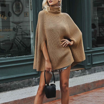 European And American-Style New Style Solid Color Cape Sweater Turtleneck Jacket
