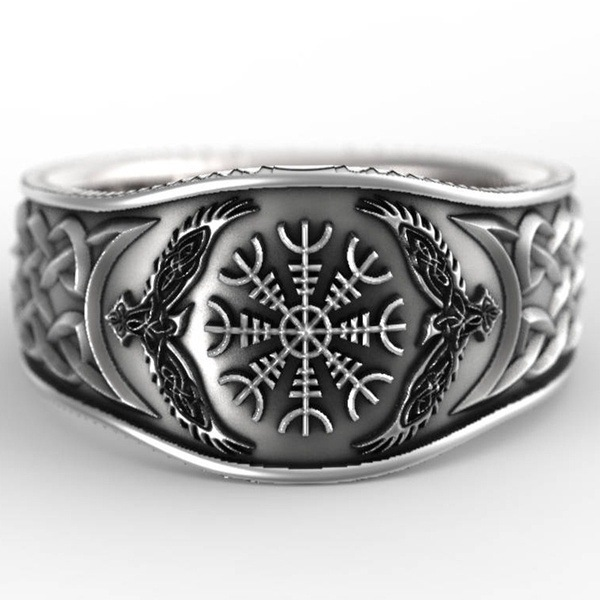 2019 New Trendy Hip Hop Rock Punk Nordic Mythological Story Viking Compass Silver Ring Luxury Personality Rings for Men Women