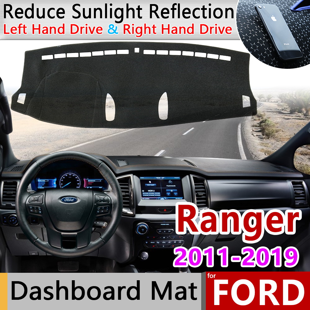 For Ford Ranger T6 2011 2012 2013 2014 2015 2016 2017 2018 2019 Anti-Slip Mat Dashboard Cover Pad Sunshade Dashmat Accessories