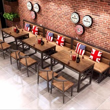 Dining Table Set Booth Sofa Combination Barbeque Restaurant Table and Chair Clear Bar Industrial Hot Pot Restaurants Bar Chairs