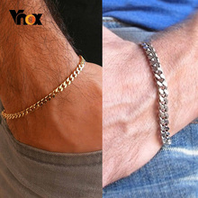 Vnox Mens Simple 3-11mm Stainless Steel Curb Cuban Link Chain Bracelets for Women Unisex