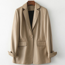 2021 Spring New Soft Sheepskin Khaki Coat Women
