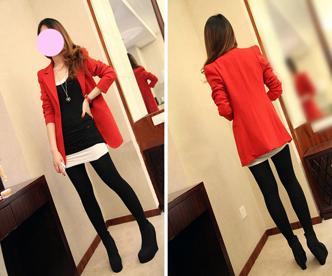 Plus Size 5XL New Brand Women Blazers And Jackets Spring Slim Mid Long Women's Suit Long Sleeve Red Blazer Lady Office LX46