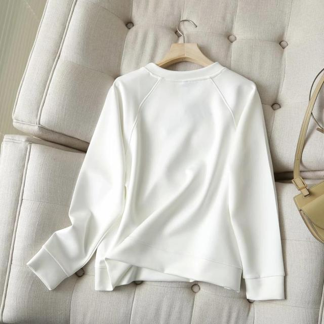 Withered 2020 Winter Hoodies Women England Style Fashion O-neck Causal White Color Solid Simple Loose Sweatshirt Pullovers Tops 3