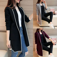 Women Autumn Winter Pockets Long Sleeve Cardigan Slim Fit Coat Soft