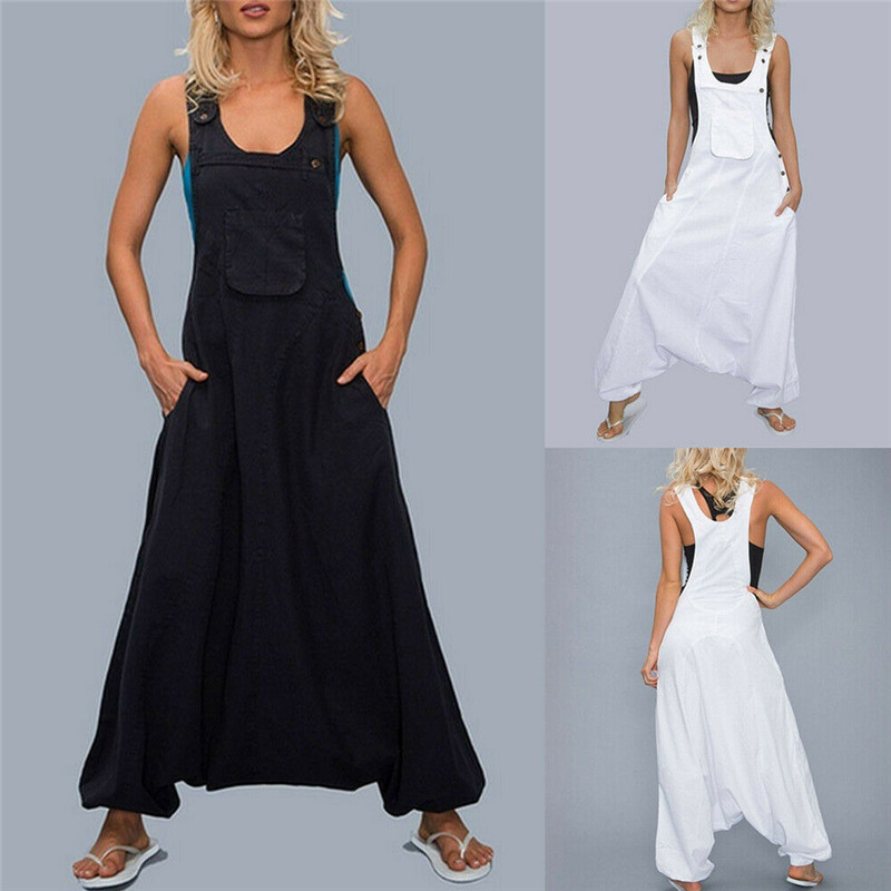 Women Strappy Bib   Jumpsuits   Cargo Hip Hop Harem Pants   Jumpsuit   Baggy Cross Romper Washed Print denim Overalls Trousers Plus Size
