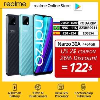 realme Narzo 30A Global Version Smartphone 4GB 64GB Helio G85 6.5 Inch Fullscreen 13MP AI Dual Camera 6000mAh 18W Quick Charge 1