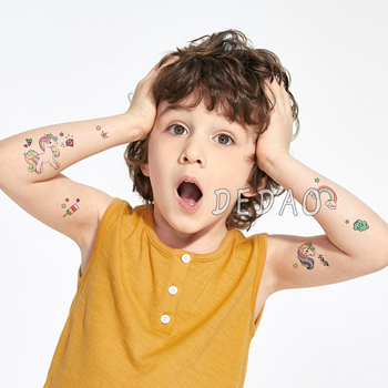 10pcs Kids Tattoo Temporary Tattoos Cartoon Unicorn Horse Fake Tattoo Sticker Waterproof Tatto Art Tatoo Hand Arm For Child Boy 5