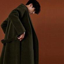 Abrigo de Cachemira de estilo coreano informal para hombre, chaqueta holgada de lana, abrigo de una botonadura