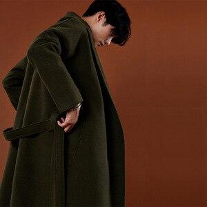 Image 1 - Abrigo de Cachemira de estilo coreano informal para hombre, chaqueta holgada de lana, abrigo de una botonadura