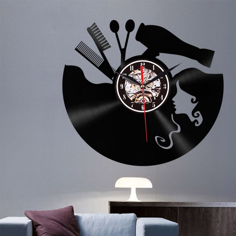 3D LED Haircut Girl Quartz Decorative Clock Retro Vinyl Record Wall Clock Home Decor Wall Art Clock For Living Room Bedroom