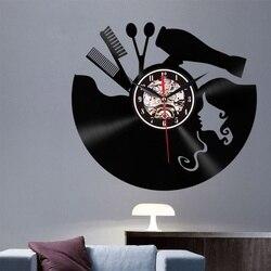 3D LED fryzura dziewczyna zegarek kwarcowy zegar dekoracyjny Retro płyta winylowa ścienne zegar do dekoracji domu artystyczny zegar ścienny do salonu sypialnia