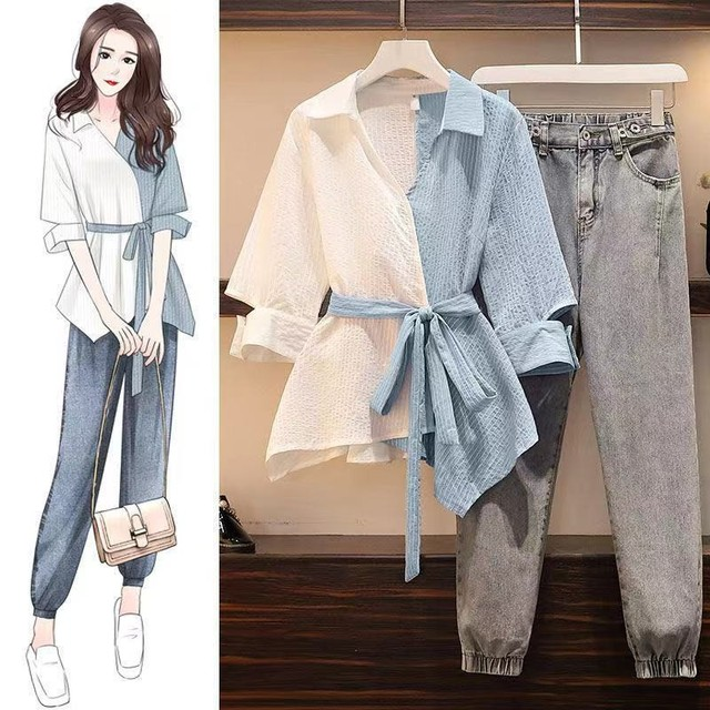 Fashion Autumn Set Women Striped Patchwork Drawstring Single Breasted Shirts Office Ladies Casual  Loose Chic Korean Simple 1