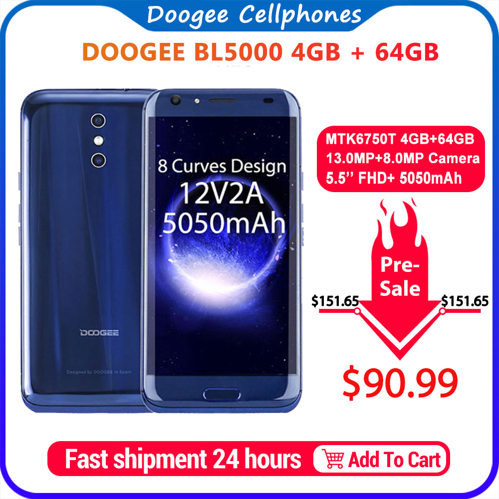 DOOGEE BL5000 Dual 13.0MP Camera Android 7.0 5050mAh 12V2A Quick Charge 5.5'' FHD MTK6750T Octa Core 4GB RAM 64GB ROM Smartphone|Cellphones| |  - title=