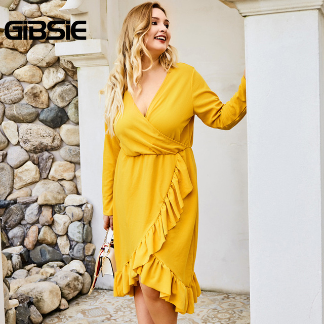 GIBSIE Wrap V-neck Tunic Midi Dresses Women Elegant Asymmetrical Ruffle Dress 2019 Autumn Long Sleeve High Waist Office Dress 3
