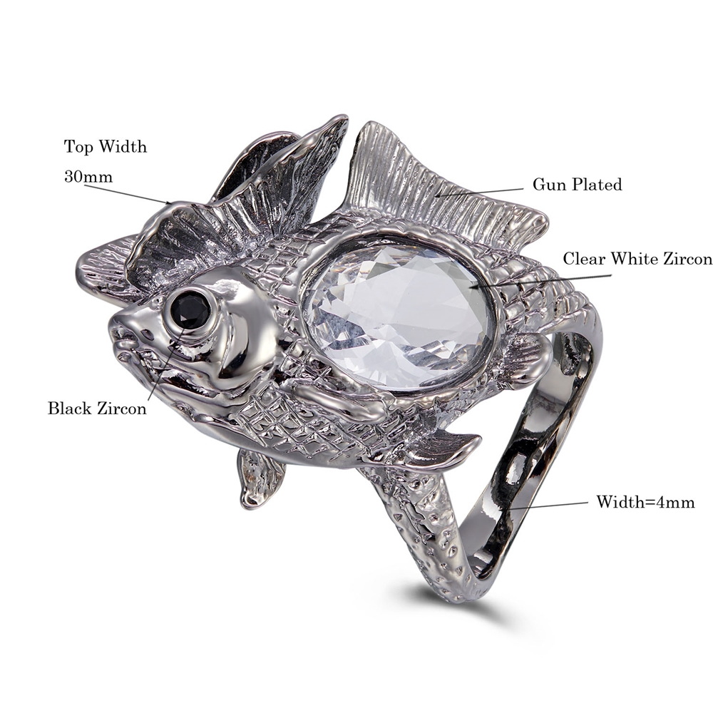 WA11772 DreamCarnival1989 New Arrive Happy Fish Ring Women Big Shiny Zircon Wedding Engagement Rings Strong Character Gun Color (9)