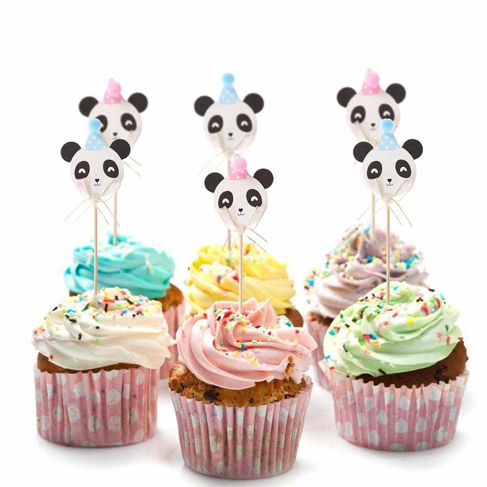 Fine 12Pcs 24Pcs Panda Cake Topper Cupcake Toppers Funny Cake Picks Funny Birthday Cards Online Fluifree Goldxyz