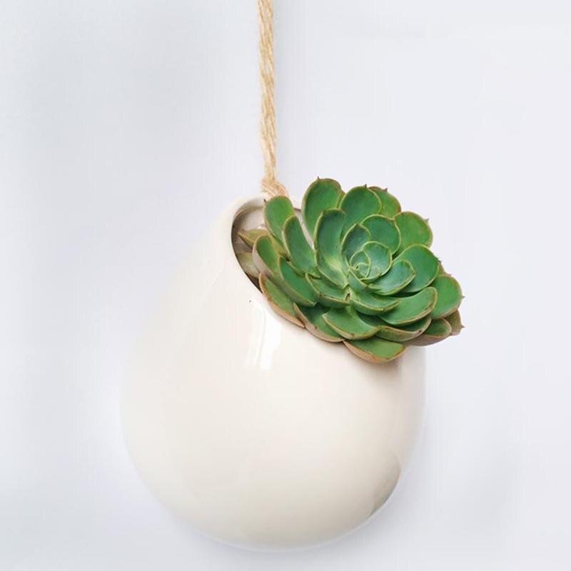 Home Garden Ceramic Hanging Planter Flower Pot Pots Succulent Plant Vase Gift