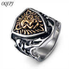 OQEPJ Vintage Totem Golden Lion Head Rings 316L Stainless Steel Gold Silver Color Animal Shield Charm Rings Men Jewelry Hot Sale charm stainless steel rings fashion golden