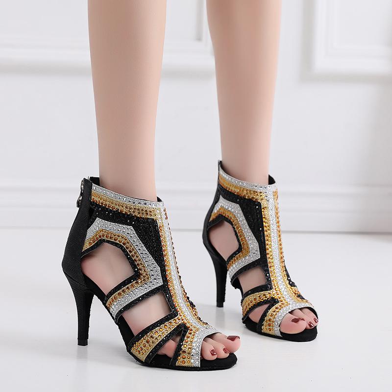 Women Rhinestone Latin Dance Boots For Girls Soft Sole Bachata Salsa Dancing Shoes For Party Wedding Girls Latino Ballroom Shoes