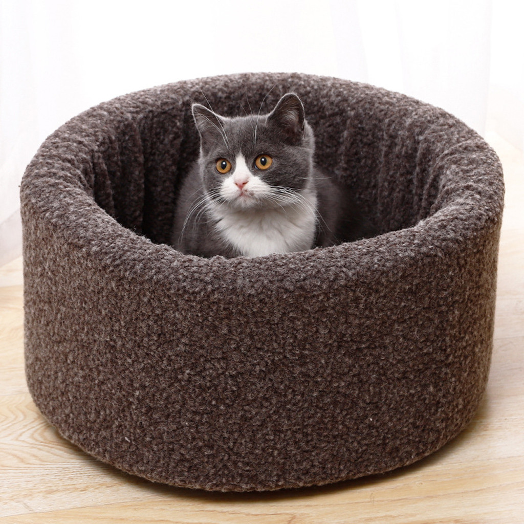 Circular Shaped Pet Beds for Puppies and Kitten with Bumps to Provide Support to Head and Neck and Waterproof Bottom