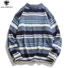 Aolamegs Sweater Men Retro Hit Color Striped Print O-Neck Sweater Simple Casual Harajuku Style Lovers Knitted Streetwear Autumn