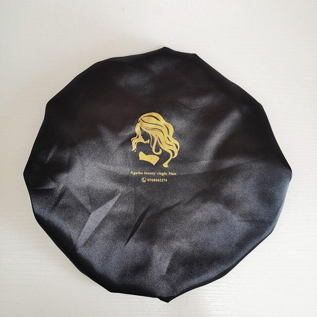 사용자 정의 로고 tassels와 검은 새틴 Drawstring 가방 머리 가발에 대 한 모자 모자 모자 랩 그립 밴드 누워 스카프 포장