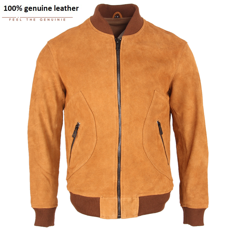 Slim Men's Genuine Leather Jacket Natural Cow Suede Leather Jacket Men Casual Baseball Coat Winter Thick Warm M256