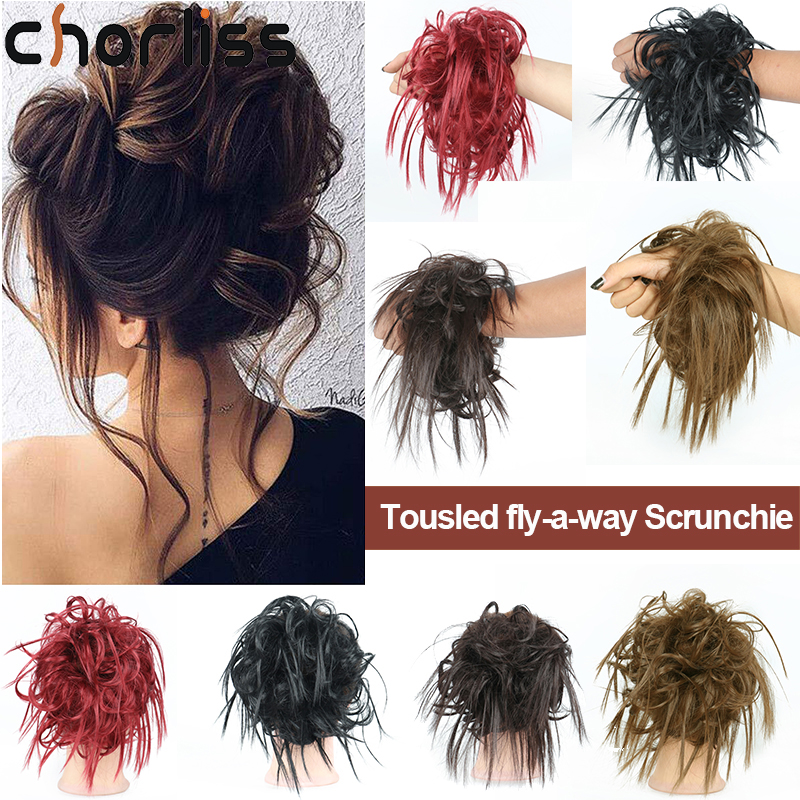 Chorliss Synthetic Chignon Messy Bun Hairpiece Elastic Band Chignon Hair Curly Scrunchie Cover Synthetic Hairpiece For Women