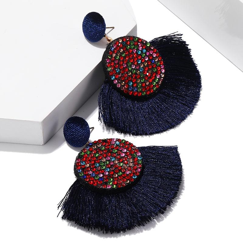 Bohème Vintage ethnique gland boucles d'oreilles grande exagération coloré cristal longue goutte boucles d'oreilles pour les femmes fête bijoux Oorbellen
