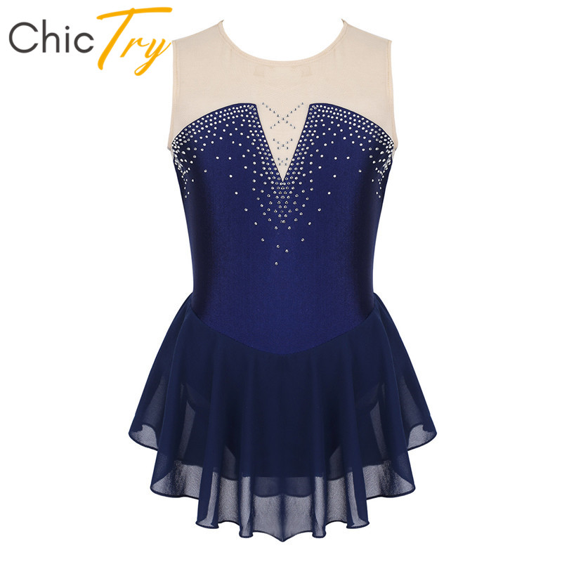 ChicTry Kids Teens Sparkly Rhinestone Mesh Girls Dancewear Ballet Gymnastics Leotard Modern Dance Costume Figure Skating Dress