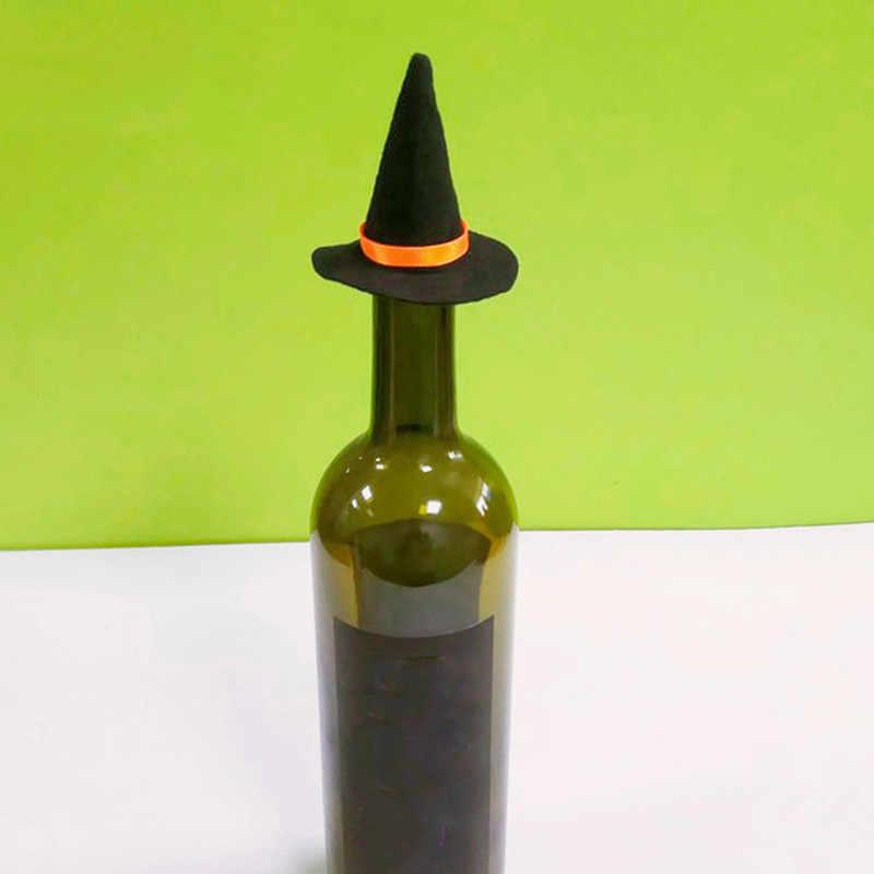 5pcs מיני צעיף הרגיש כובעי מכשפה ליל כל הקדושים כובע יין בקבוק דקור עבור ליל כל הקדושים המפלגה טובות DIY שיער אביזרי מלאכות