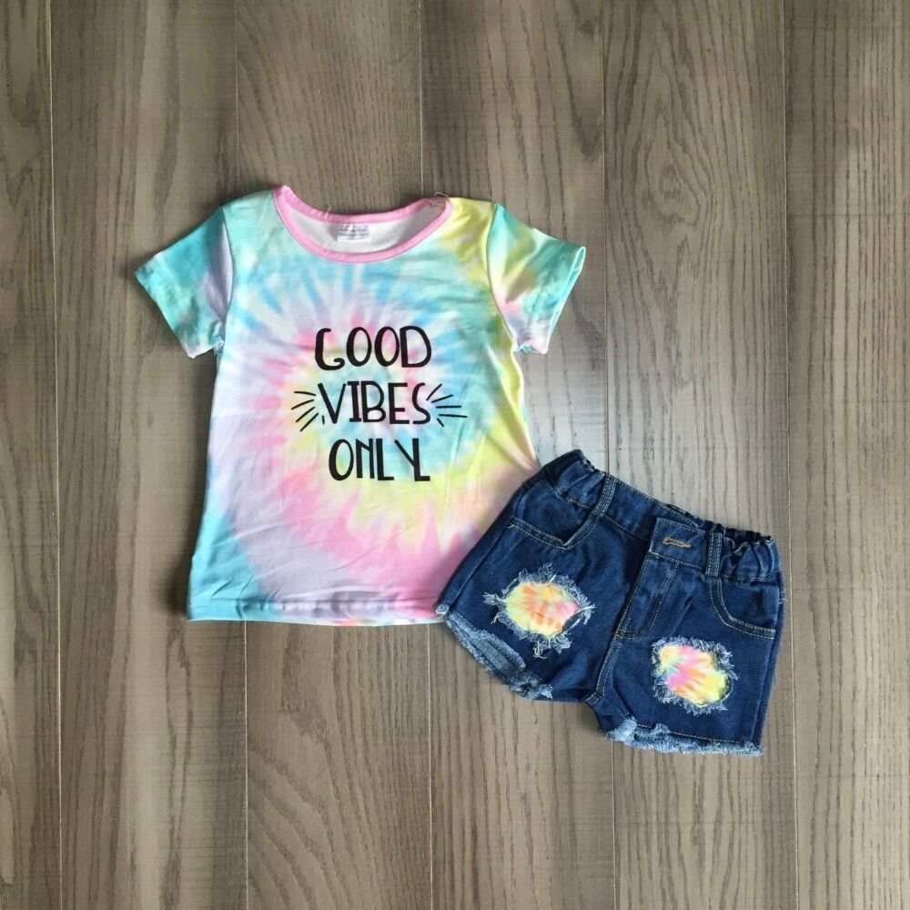Baby Girls Summer Outfits Tie Dye Shirt With Shorts Girls Tie-dyed Outfits