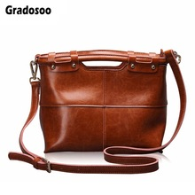 Gradosoo Oil Wax Leather Handbag Patchwork Shoulder Bags For Women Messenger Bag Top-handle Bags Female Brand Luxury Bags HMB648 цена 2017