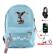 HAHAHA Joker print vogue Backpack Teenager Boy/girl School Bags Waterproof Oxford USB Charger Women/Men Backpack School Bag