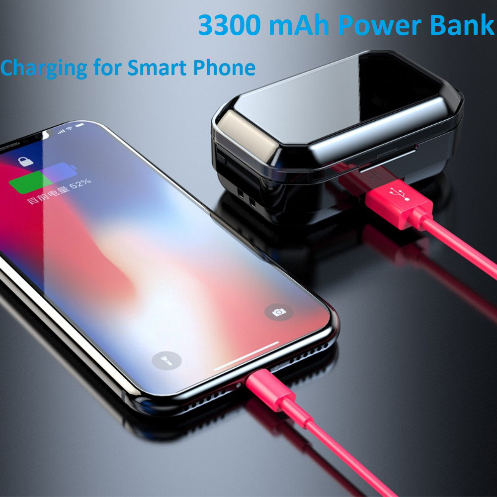 G02 TWS Bluetooth V5.0 Earphone 9D Stereo IPX6 Waterproof Touch Earbuds 3350mAh LED Smart Display Power Bank Type-C Charge Case
