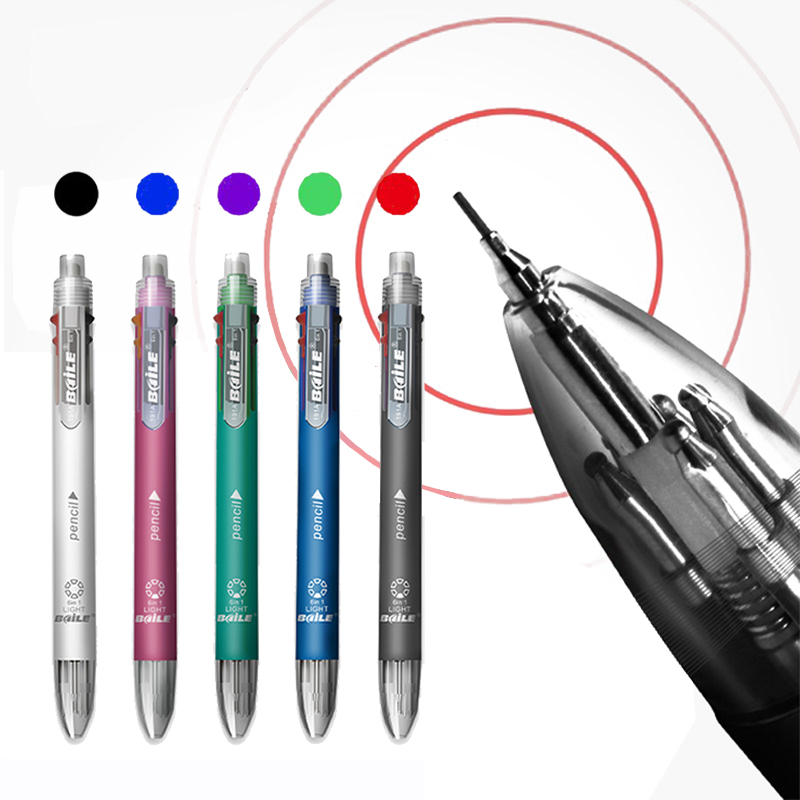 6 In 1 Multicolor Ballpoint Pen Multifunction Pen Contain 5 Color Ball Pen & 1  Automatic Pencil Top Eraser Office School Supply
