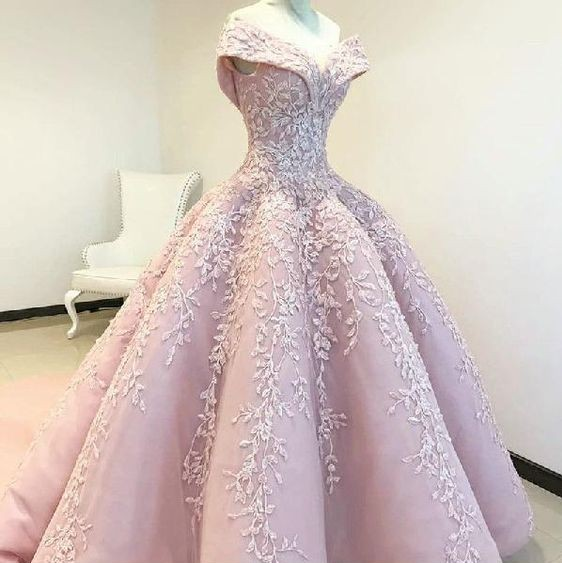 Elegant Off The Shoulder Pink Wedding Dresses 2019 Sweetheart Lace Applique Satin Ball Gown Wedding Dress Bridal Gowns For Bride