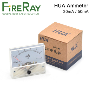 HUA Ammeter 30mA 50mA 85C1 DC 0-50mA Analog Amp Panel Meter Current for CO2 Laser Engraving Cutting Machine new original 1746 nr4 plc 50ma 4 number of inputs resistance analog input modul