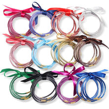 Fashion 5pcs/Set All Weather Glitter Jelly Bracelets Bangles Stack Silicone Round Bowknot Bangle For Women Girl Jewelry