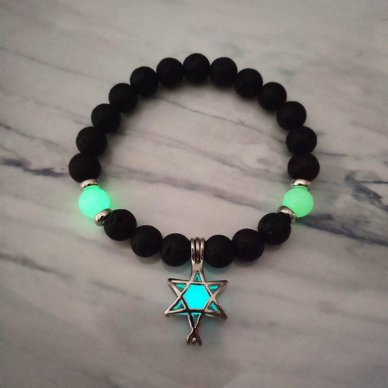 yoga glows star bracelet elastic line indian dance bracelets Luminous bead natural lava stone hand string wholesale