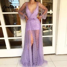 Violet Deep V Neck Evening Dresses Illusion Long Sleeves Hot Sexy Beaded Party Gowns 2018 Custom Made Arabic Prom Dress Vestidos