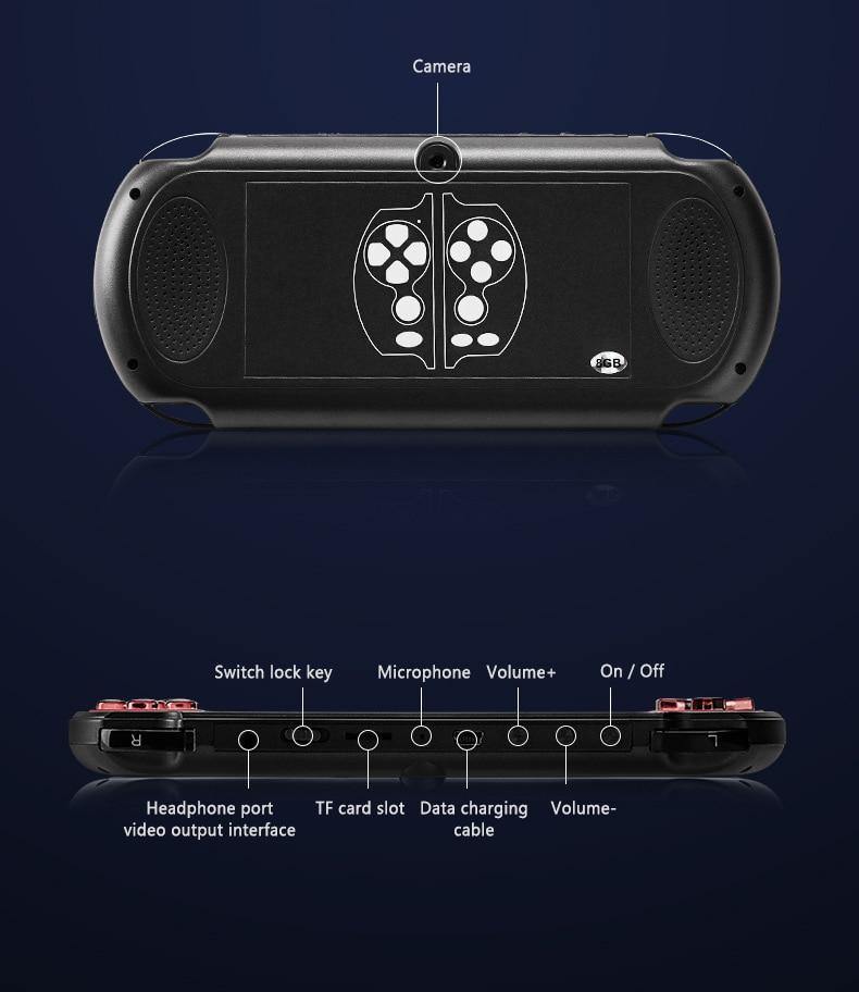 PSP ניו כף יד קונסולת משחקי 5.1 אינץ 8G 128 סיבי קונסולת משחקים מובנית 10,000 משחקים עבור משחק PSP, מצלמה, וידאו, ספר אלקטרוני מישחק להורדה (5)