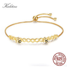 KALETINE Honey Bee 925 Sterling Silver Bracelets For Women Heart Luxury Love Comb Bee Men Women Tennis Bracelet Gold Jewelry(China)