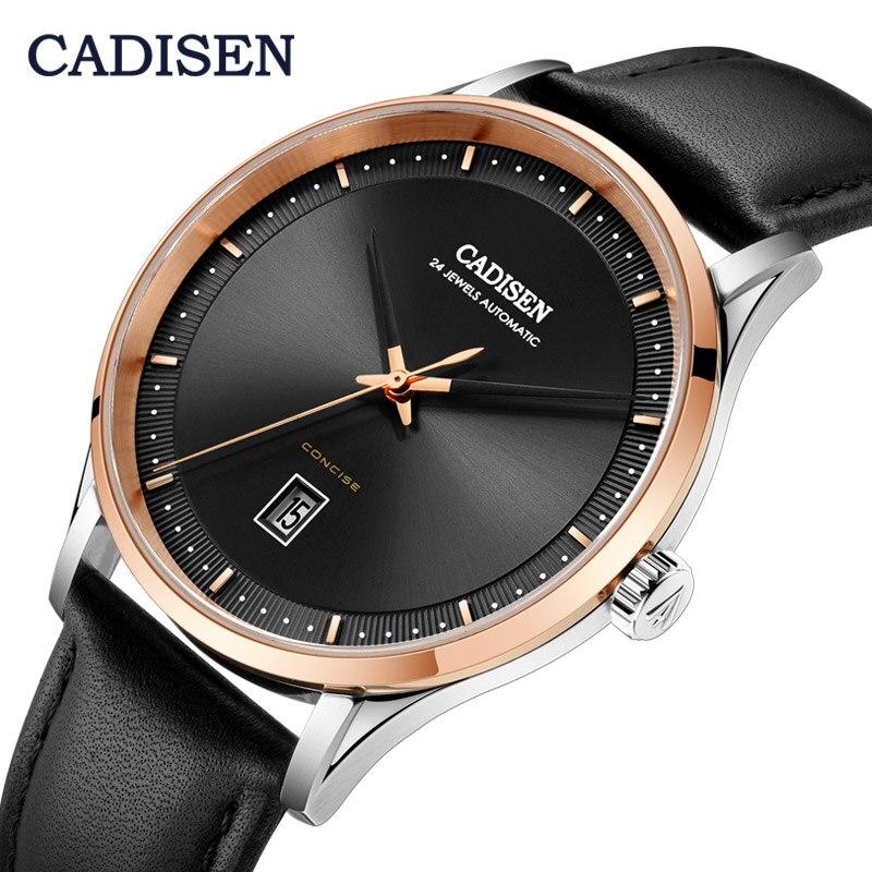 CADISEN 8143 Мужские автоматические механические часы с сапфировым кристаллом, часы для отдыха NH35A, Мужские t часы, мужские наручные часы из натуральной кожи|Механические часы|   | АлиЭкспресс