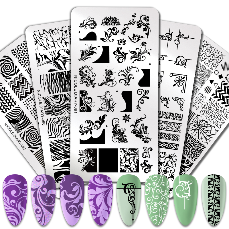 NICOLE DIARY Nail Stamping Plates Marble Fire Flower Nail Art Printing Template Stainless Steel Nail Art Stencil Tools