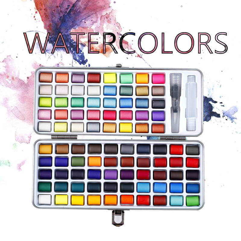 Professional 50/72/90 Color Solid Watercolor Set Basic Neon Glitter Watercolor Paint for Drawing Art Paint Supplies Art Supplies