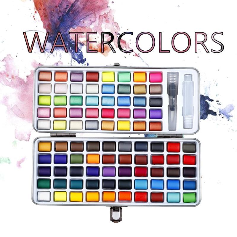Profissional 50/72/90 cor sólida aquarela conjunto básico neon glitter pintura aquarela para desenhar arte suprimentos de pintura