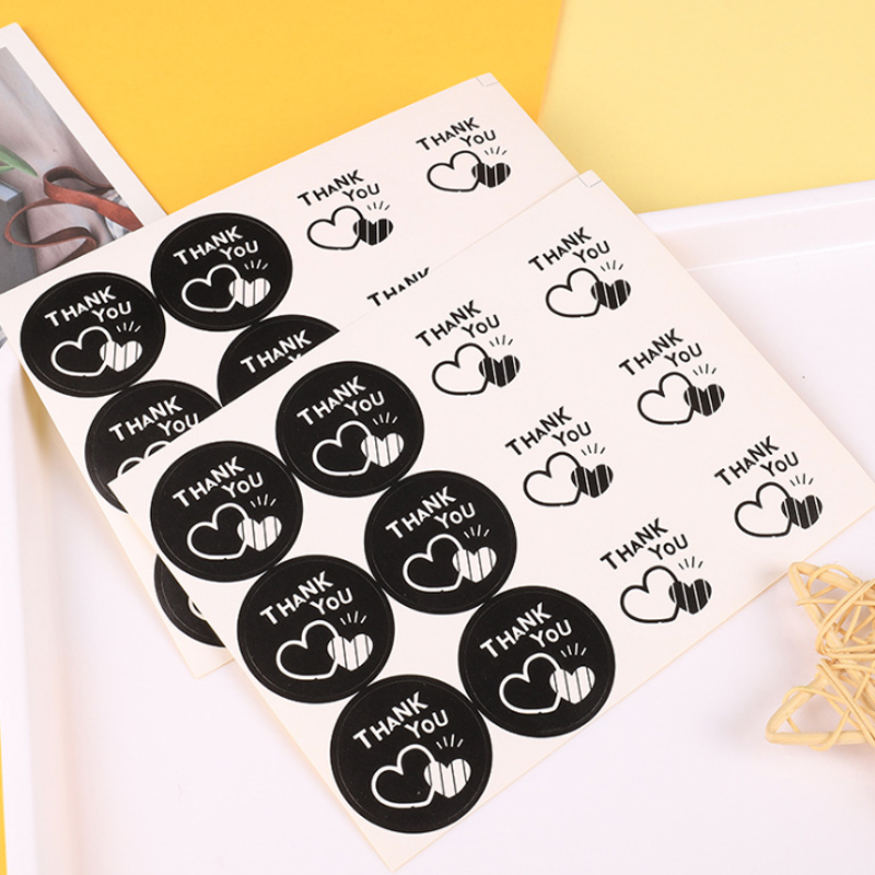 100pcs/lot Cute Round Thank You With Heart Kraft Paper Sticker Handmade  Seal Sticker DIY Paper Label Kid Stationery Stickers