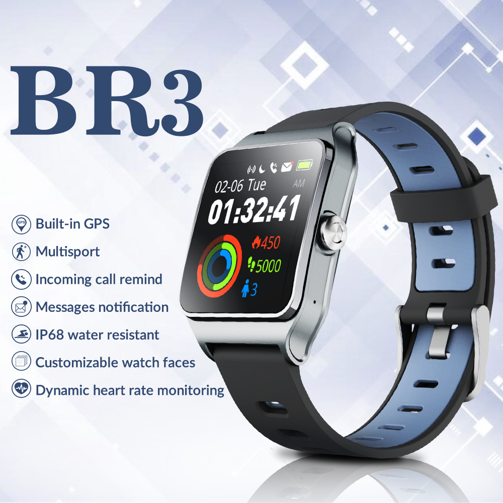 Image 3 - Dropshipping Makibes BR3 Strava Smartwatch Men Built in GPS Smart Watch IP68 Waterproof Fitness Tracker Heart Rate Monitor Watch-in Smart Watches from Consumer Electronics
